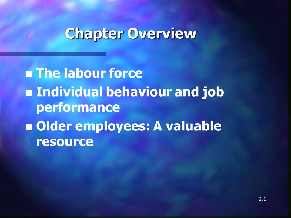 2.1 Chapter Overview n The labour force n Individual behaviour and job performance n Older employees: A valuable resource