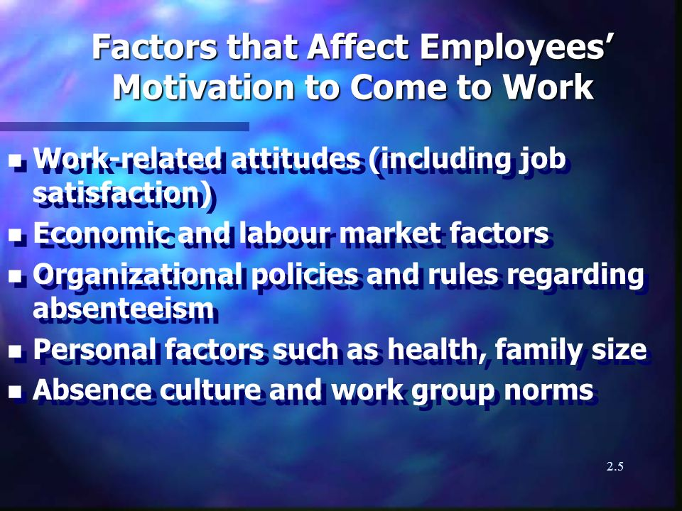 2.5 Factors that Affect Employees Motivation to Come to Work n Work-related attitudes (including job satisfaction) n Economic and labour market factors n Organizational policies and rules regarding absenteeism n Personal factors such as health, family size n Absence culture and work group norms n Work-related attitudes (including job satisfaction) n Economic and labour market factors n Organizational policies and rules regarding absenteeism n Personal factors such as health, family size n Absence culture and work group norms