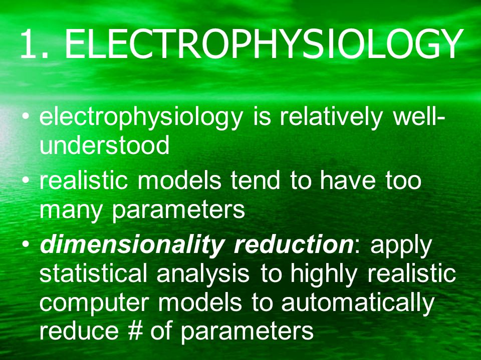 1. ELECTROPHYSIOLOGY electrophysiology is relatively well- understood realistic models tend to have too many parameters dimensionality reduction: appl