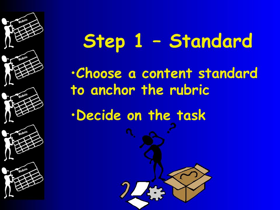 Step 1 – Standard Choose a content standard to anchor the rubric Decide on the task