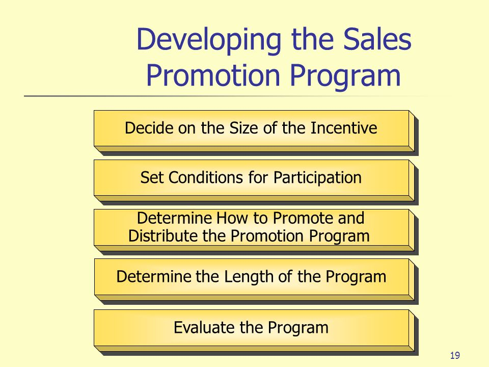 19 Decide on the Size of the Incentive Set Conditions for Participation Evaluate the Program Determine How to Promote and Distribute the Promotion Pro