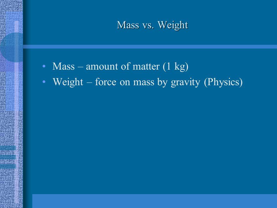 Mass vs. Weight Mass – amount of matter (1 kg) Weight – force on mass by gravity (Physics)