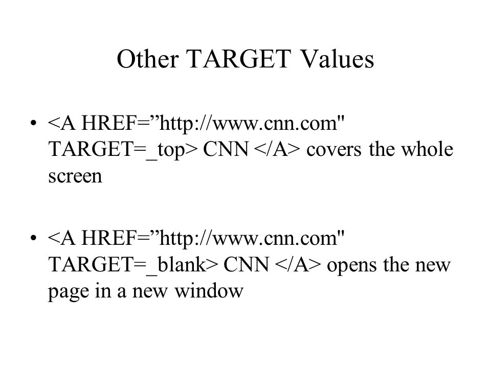 Other TARGET Values CNN covers the whole screen CNN opens the new page in a new window