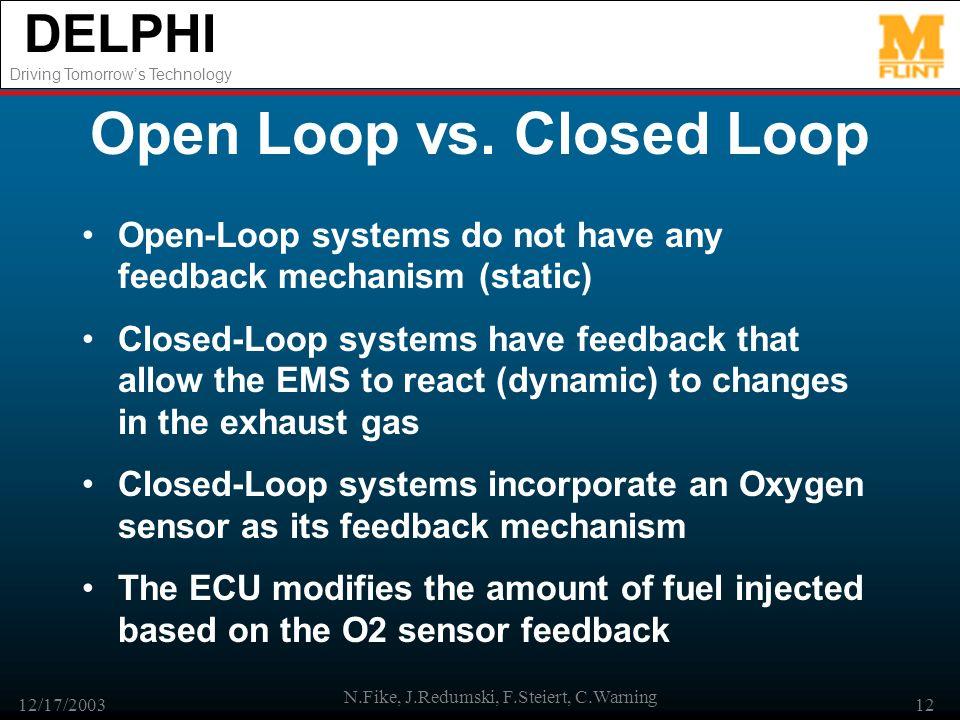 DELPHI Driving Tomorrows Technology 12/17/2003 N.Fike, J.Redumski, F.Steiert, C.Warning 12 Open Loop vs. Closed Loop Open-Loop systems do not have any