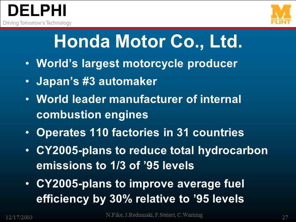 DELPHI Driving Tomorrows Technology 12/17/2003 N.Fike, J.Redumski, F.Steiert, C.Warning 27 Honda Motor Co., Ltd. Worlds largest motorcycle producer Ja