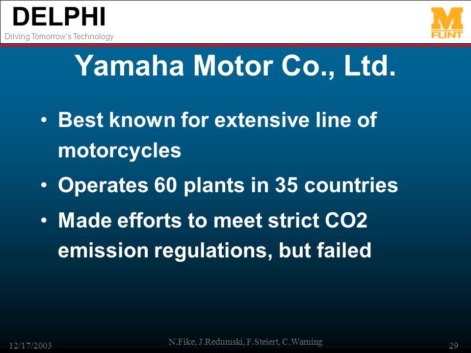 DELPHI Driving Tomorrows Technology 12/17/2003 N.Fike, J.Redumski, F.Steiert, C.Warning 29 Yamaha Motor Co., Ltd. Best known for extensive line of mot
