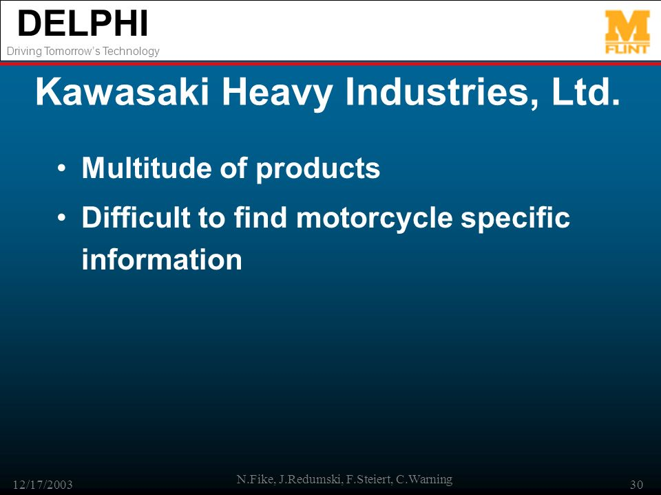 DELPHI Driving Tomorrows Technology 12/17/2003 N.Fike, J.Redumski, F.Steiert, C.Warning 30 Kawasaki Heavy Industries, Ltd.