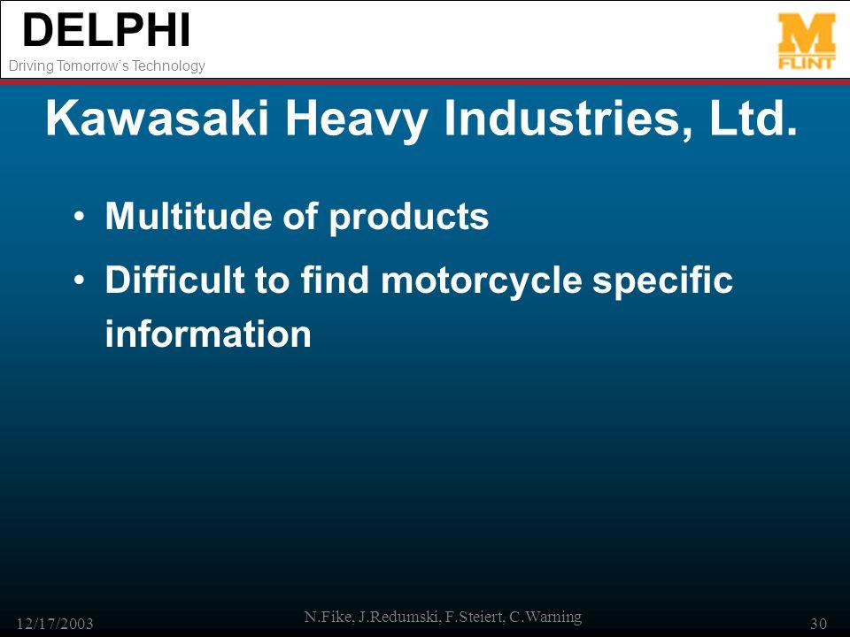 DELPHI Driving Tomorrows Technology 12/17/2003 N.Fike, J.Redumski, F.Steiert, C.Warning 30 Kawasaki Heavy Industries, Ltd. Multitude of products Diffi