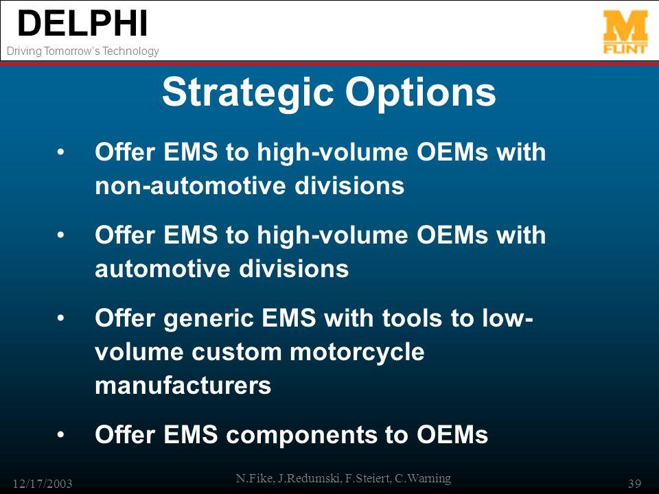 DELPHI Driving Tomorrows Technology 12/17/2003 N.Fike, J.Redumski, F.Steiert, C.Warning 39 Strategic Options Offer EMS to high-volume OEMs with non-au