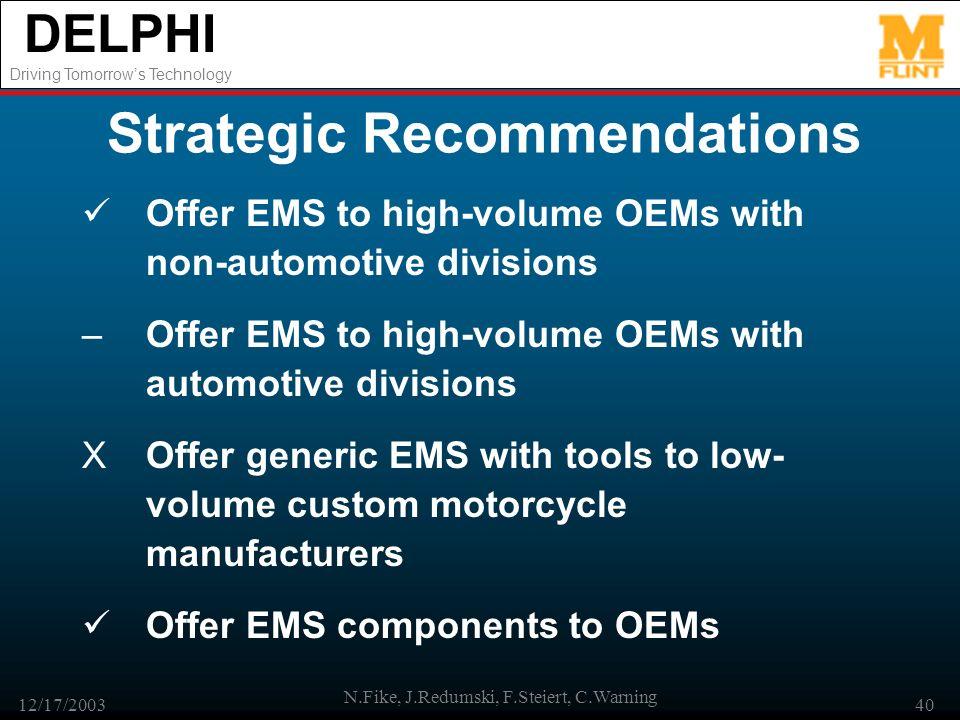 DELPHI Driving Tomorrows Technology 12/17/2003 N.Fike, J.Redumski, F.Steiert, C.Warning 40 Strategic Recommendations Offer EMS to high-volume OEMs wit