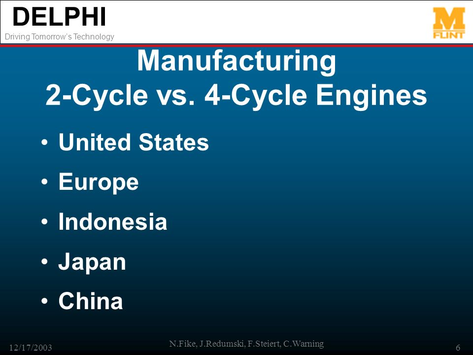 DELPHI Driving Tomorrows Technology 12/17/2003 N.Fike, J.Redumski, F.Steiert, C.Warning 6 Manufacturing 2-Cycle vs.