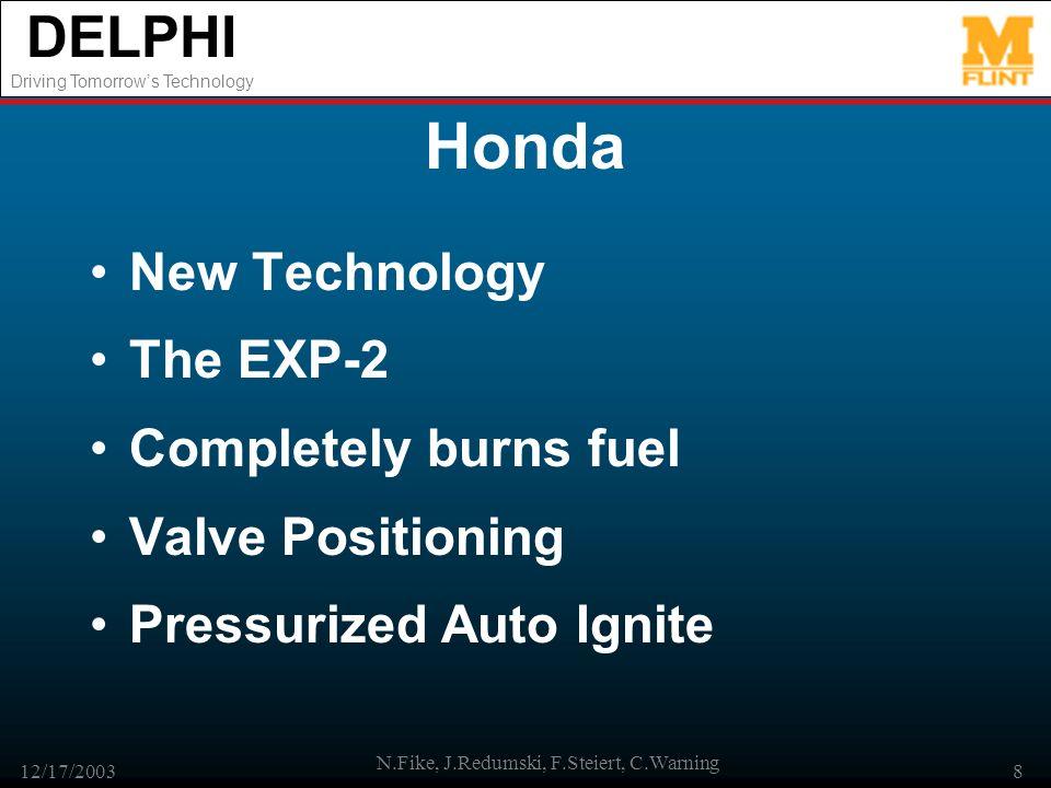 DELPHI Driving Tomorrows Technology 12/17/2003 N.Fike, J.Redumski, F.Steiert, C.Warning 8 Honda New Technology The EXP-2 Completely burns fuel Valve P