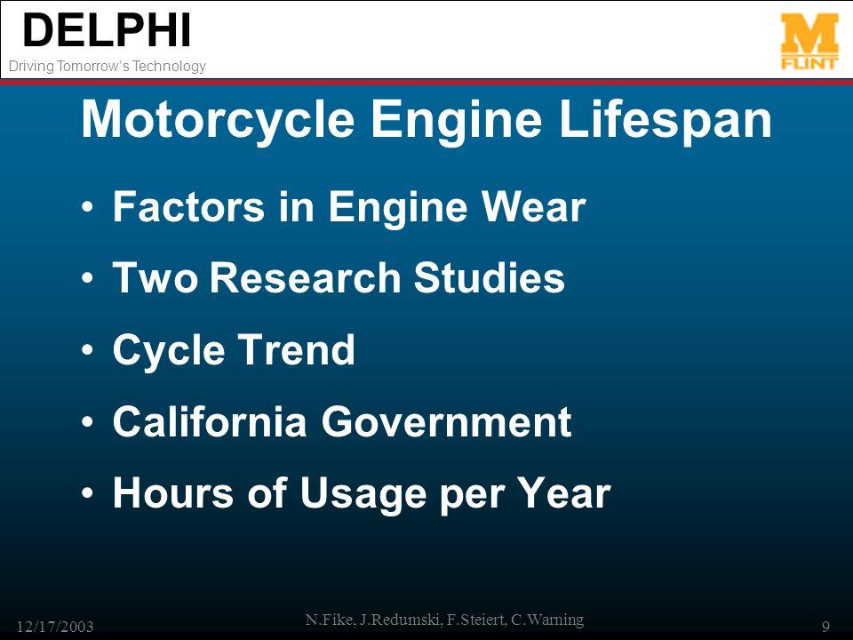 DELPHI Driving Tomorrows Technology 12/17/2003 N.Fike, J.Redumski, F.Steiert, C.Warning 9 Motorcycle Engine Lifespan Factors in Engine Wear Two Resear