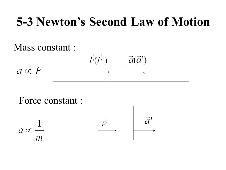 5-3 Newtons Second Law of Motion Mass constant : Force constant :