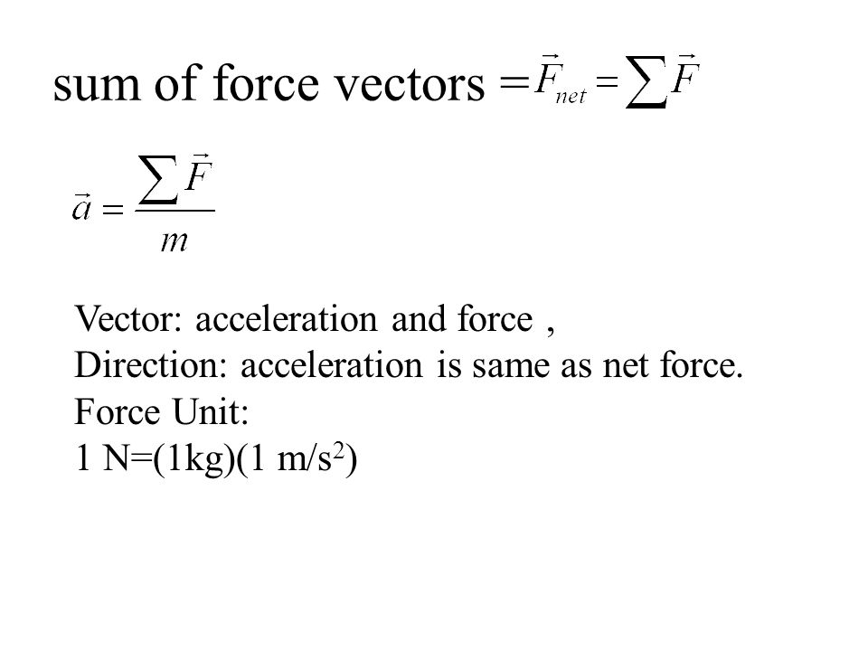 sum of force vectors = Vector: acceleration and force, Direction: acceleration is same as net force.