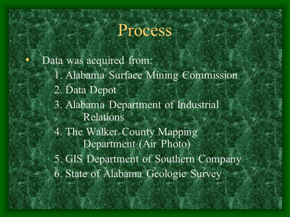 Process Data was acquired from: 1. Alabama Surface Mining Commission 2. Data Depot 3. Alabama Department of Industrial Relations 4. The Walker County