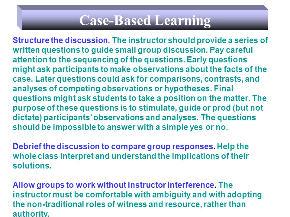 Structure the discussion.
