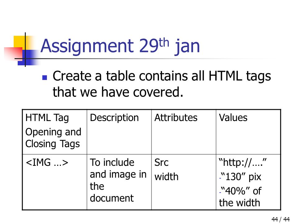 / 4444 Assignment 29 th jan Create a table contains all HTML tags that we have covered.