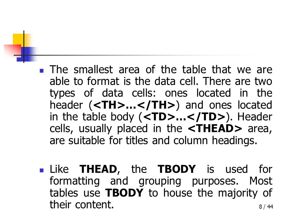 / 448 The smallest area of the table that we are able to format is the data cell.