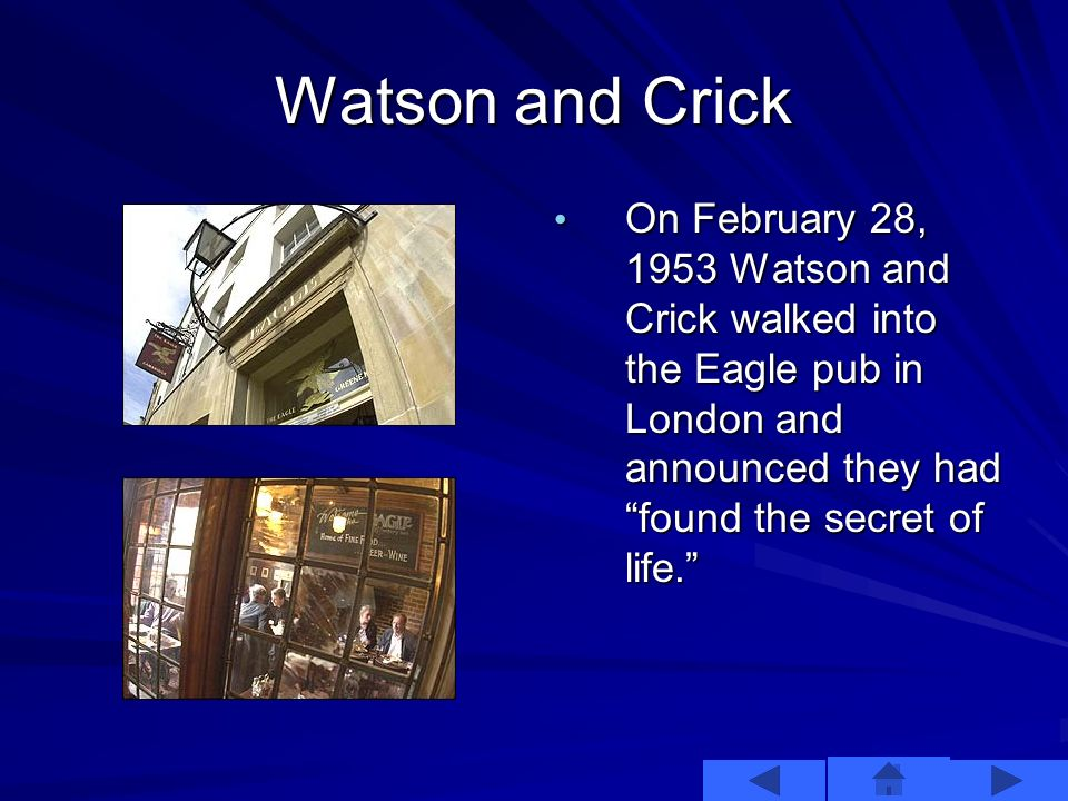 Watson and Crick This configuration also suggested a mechanism for replication of DNA.