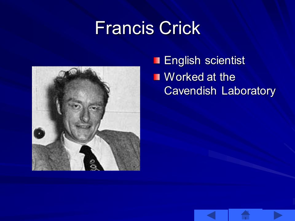 James Watson Young American Scientist Strong interest in discovering the structure of DNA. Earned his bachelors degree at age 19 and his PhD at 22