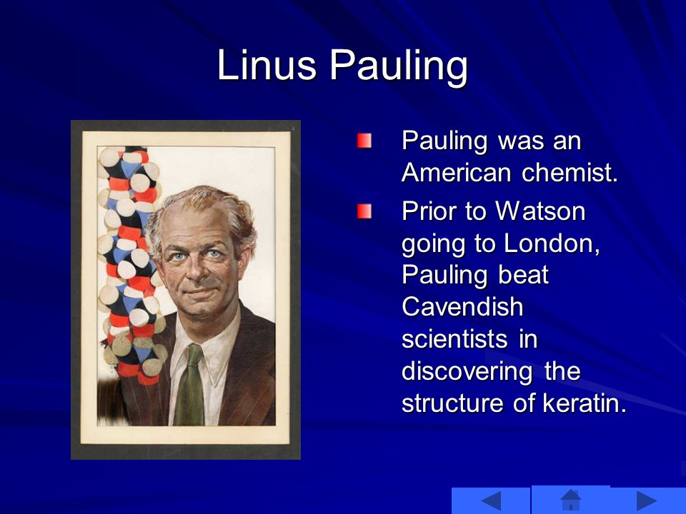 Important Others Other prominent figures were trying to discover the structure of DNA. These included Linus Pauling and Rosalind Franklin. There was n