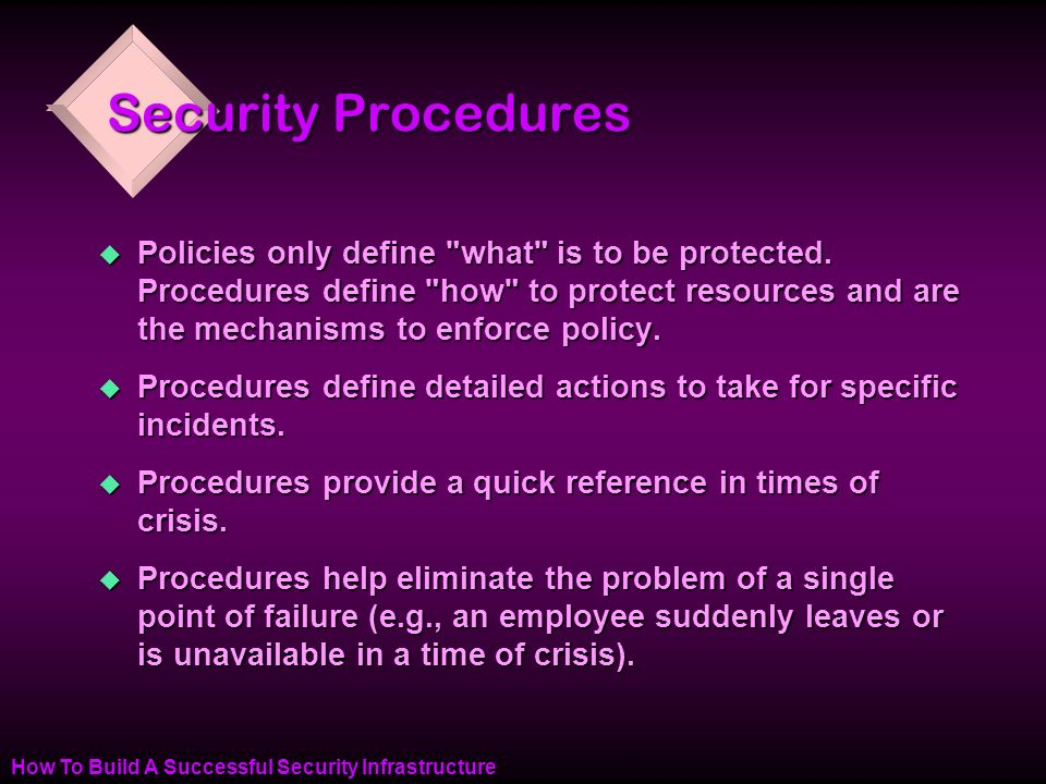 How To Build A Successful Security Infrastructure Security Procedures u Policies only define what is to be protected.