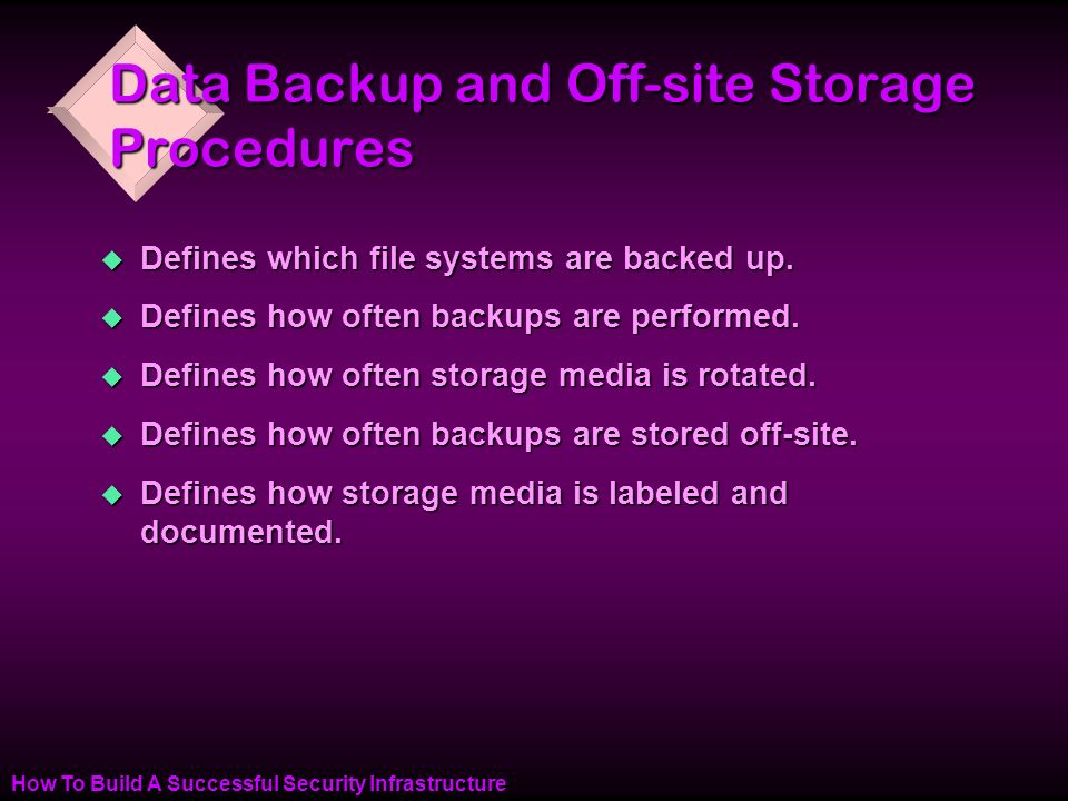 How To Build A Successful Security Infrastructure Data Backup and Off-site Storage Procedures u Defines which file systems are backed up.