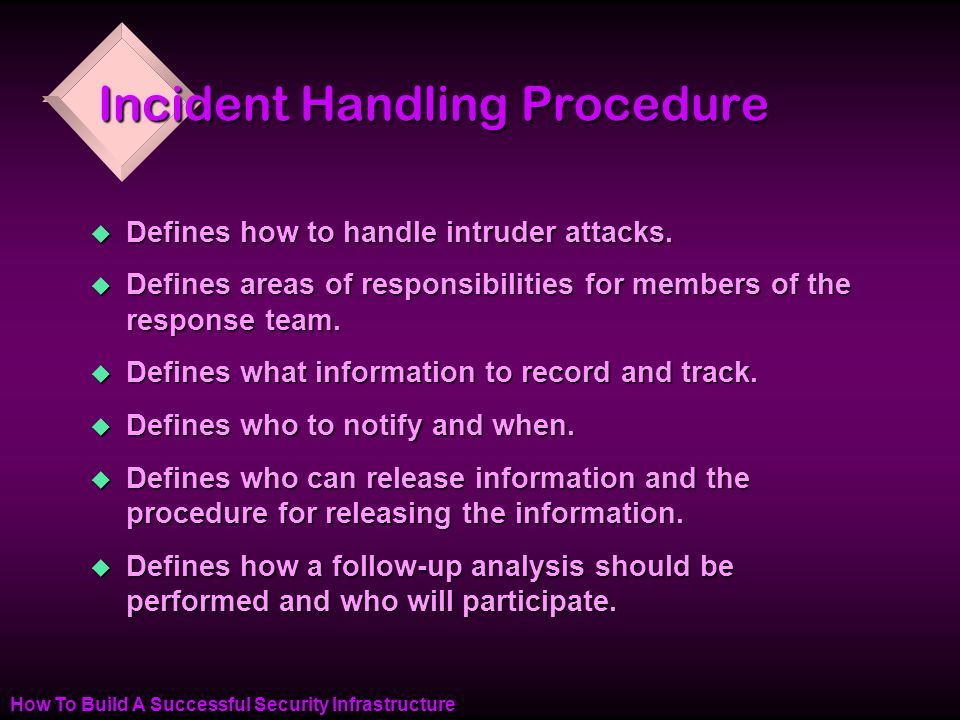 How To Build A Successful Security Infrastructure Incident Handling Procedure u Defines how to handle intruder attacks.