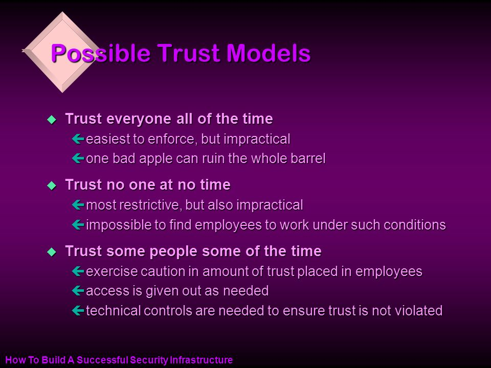 How To Build A Successful Security Infrastructure Possible Trust Models u Trust everyone all of the time çeasiest to enforce, but impractical çone bad apple can ruin the whole barrel u Trust no one at no time çmost restrictive, but also impractical çimpossible to find employees to work under such conditions u Trust some people some of the time çexercise caution in amount of trust placed in employees çaccess is given out as needed çtechnical controls are needed to ensure trust is not violated