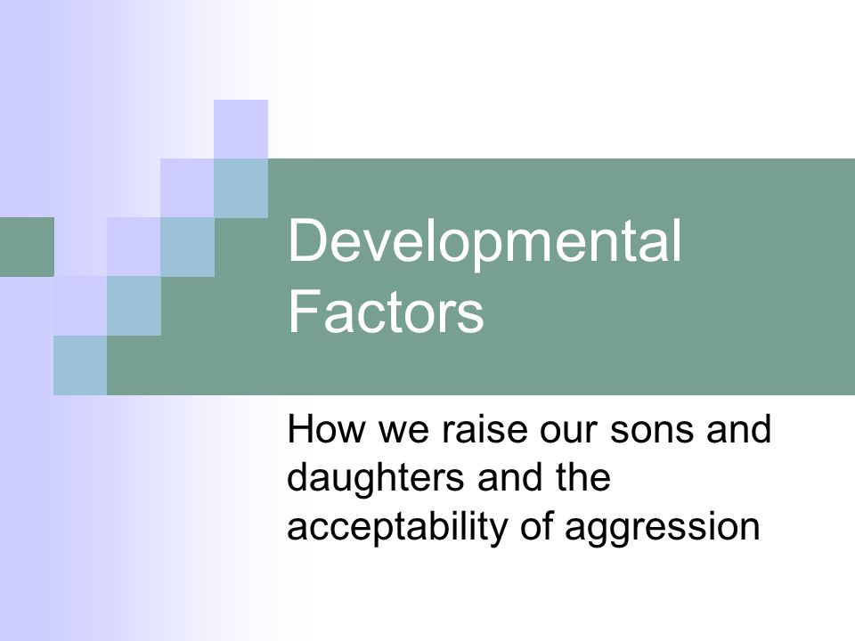Developmental Factors How we raise our sons and daughters and the acceptability of aggression