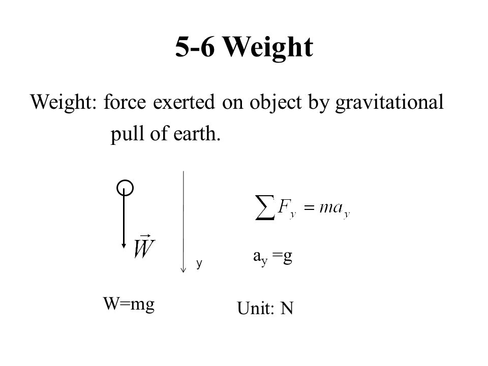 5-6 Weight Weight: force exerted on object by gravitational pull of earth. y a y =g W=mg Unit: N