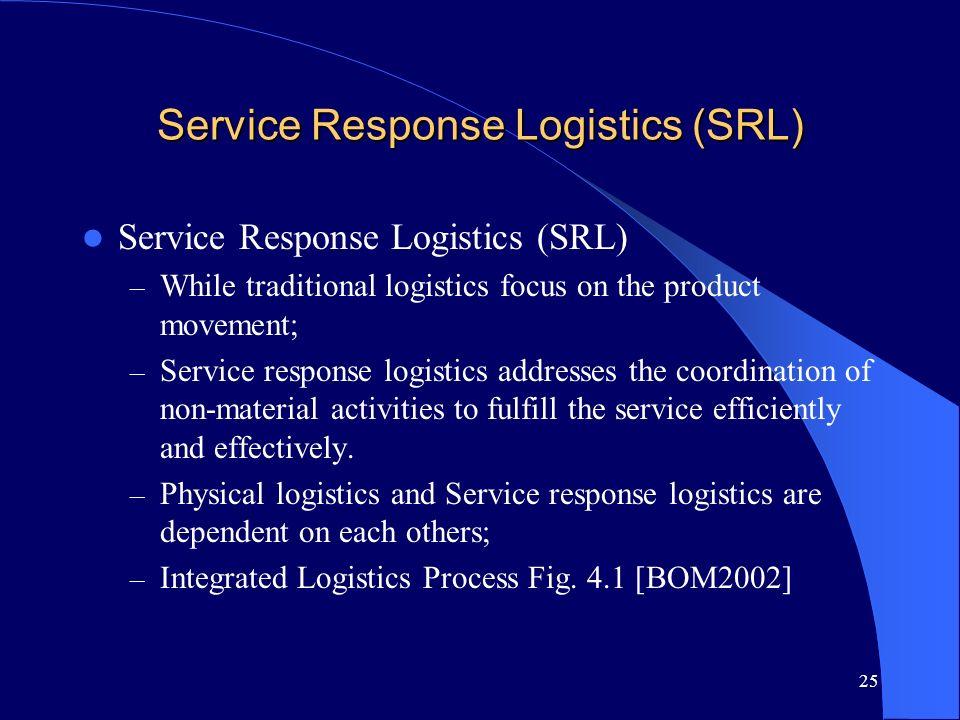 25 Service Response Logistics (SRL) – While traditional logistics focus on the product movement; – Service response logistics addresses the coordinati
