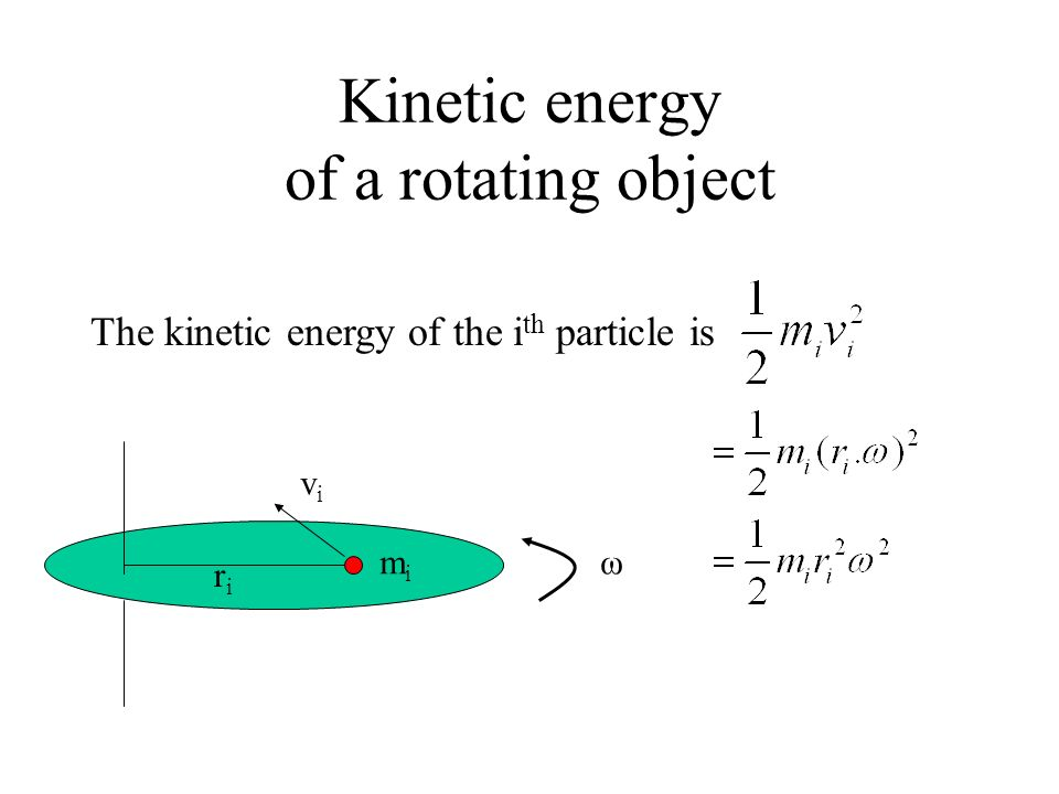 Kinetic energy of a rotating object ω mimi riri vivi The kinetic energy of the i th particle is