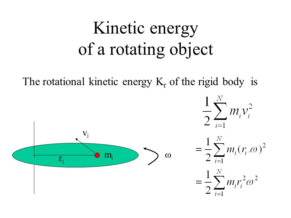 Kinetic energy of a rotating object ω mimi riri vivi The rotational kinetic energy K r of the rigid body is