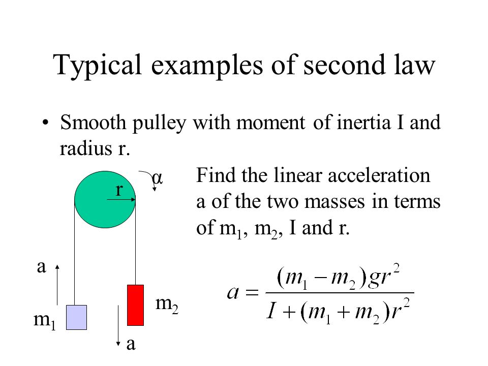 Typical examples of second law Smooth pulley with moment of inertia I and radius r. r m1m1 m2m2 α a a Find the linear acceleration a of the two masses