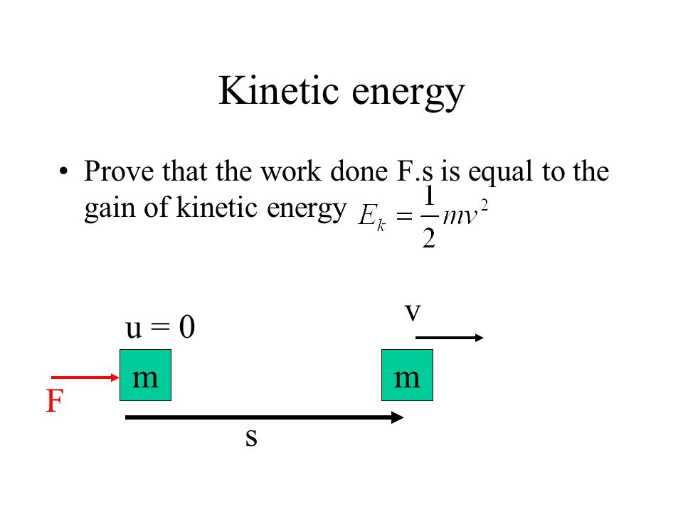 Kinetic energy Prove that the work done F.s is equal to the gain of kinetic energy s m F u = 0 m v
