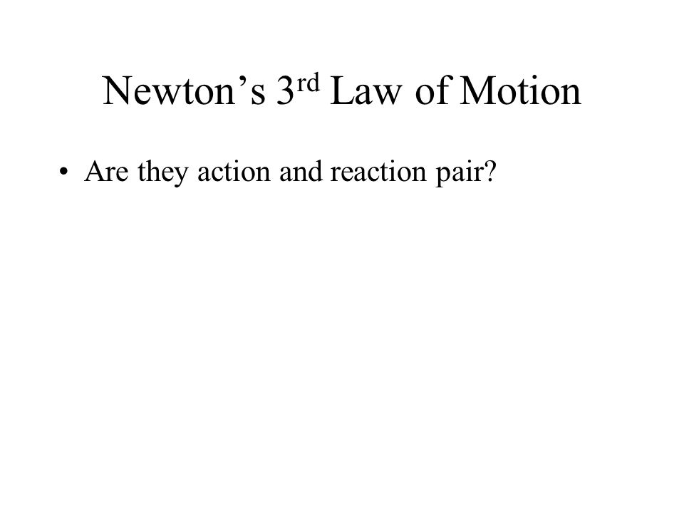 Newtons 3 rd Law of Motion Are they action and reaction pair?