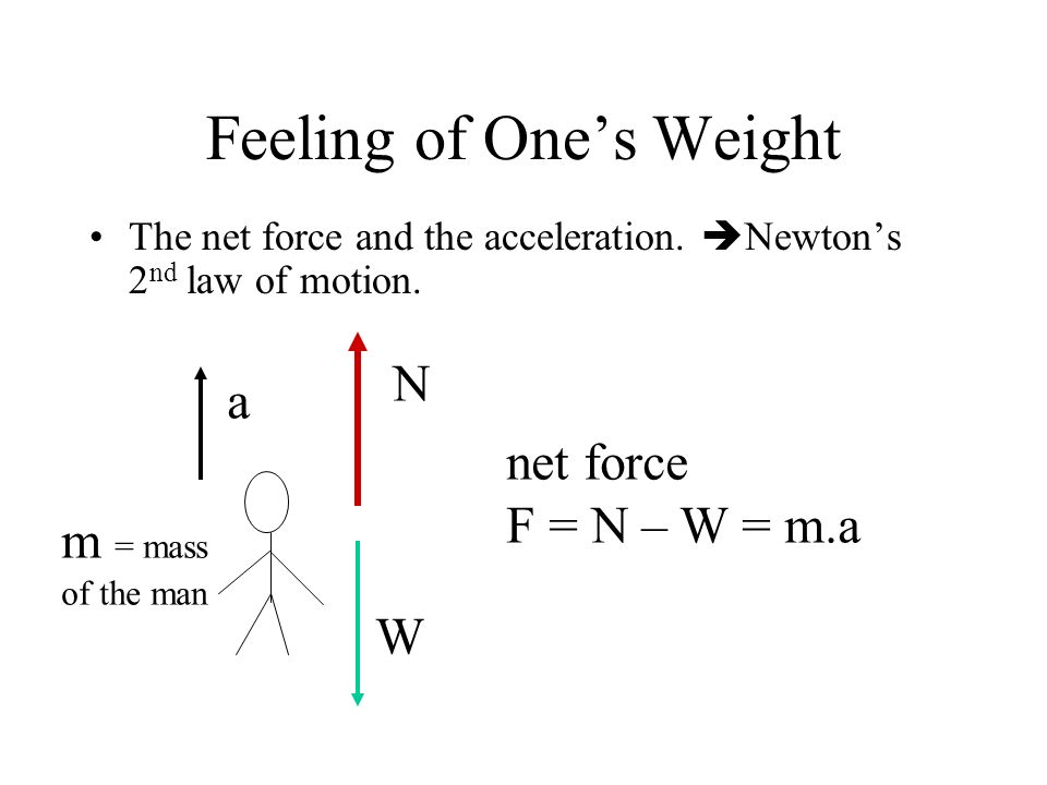 Feeling of Ones Weight The net force and the acceleration. Newtons 2 nd law of motion. N W net force F = N – W = m.a m = mass of the man a