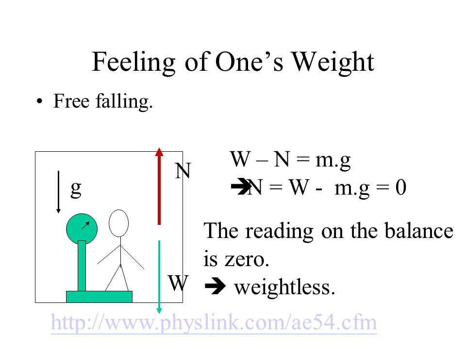 Feeling of Ones Weight Free falling. W – N = m.g N = W - m.g = 0 N W The reading on the balance is zero. weightless. g http://www.physlink.com/ae54.cf