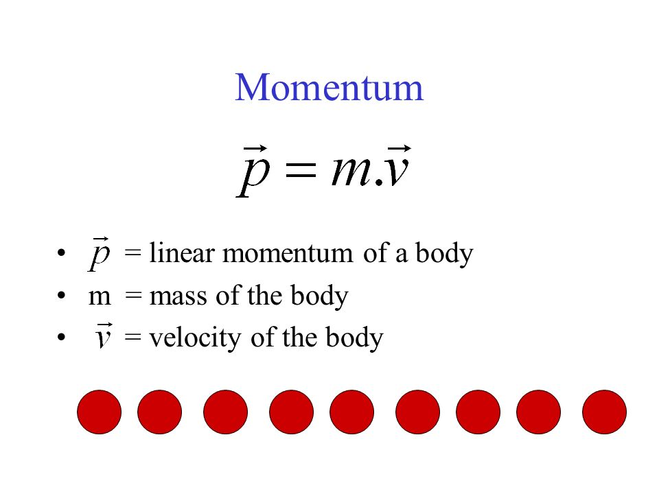 Momentum = linear momentum of a body m = mass of the body = velocity of the body