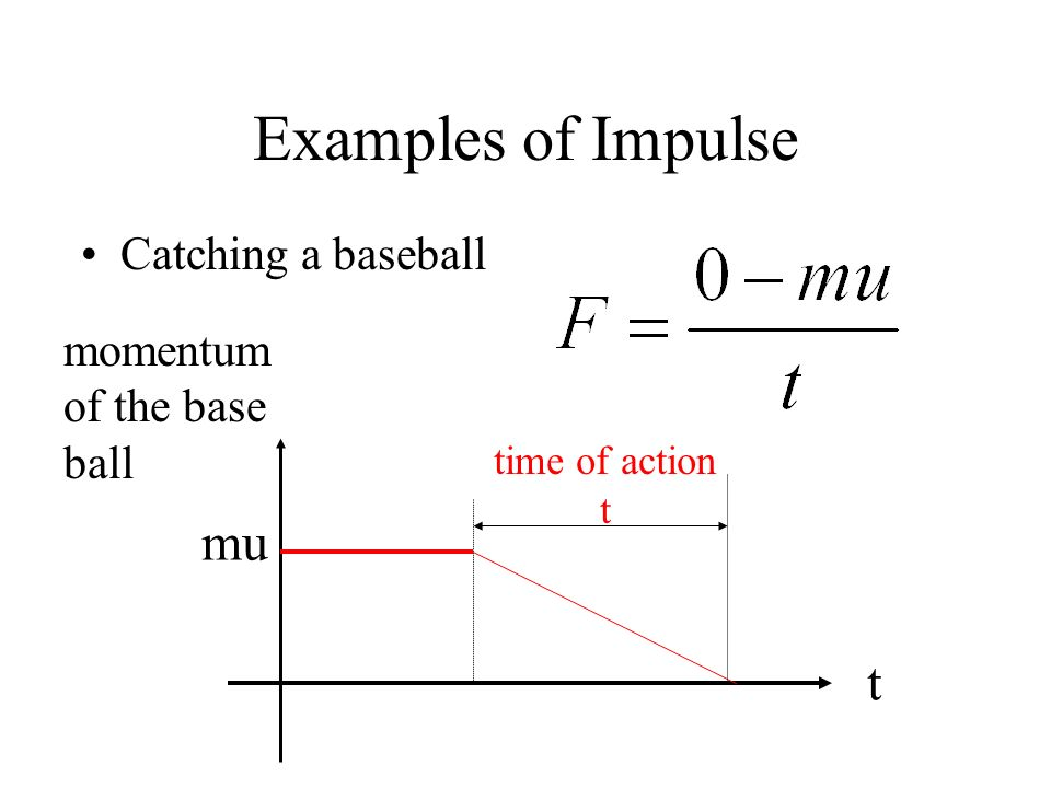 Examples of Impulse Catching a baseball time of action t momentum of the base ball t mu