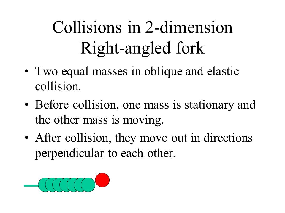 Collisions in 2-dimension Right-angled fork Two equal masses in oblique and elastic collision. Before collision, one mass is stationary and the other