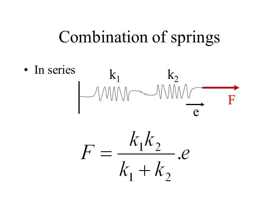 Combination of springs In series k1k1 k2k2 F e