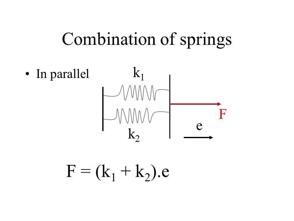 Combination of springs In parallel k1k1 k2k2 F e F = (k 1 + k 2 ).e