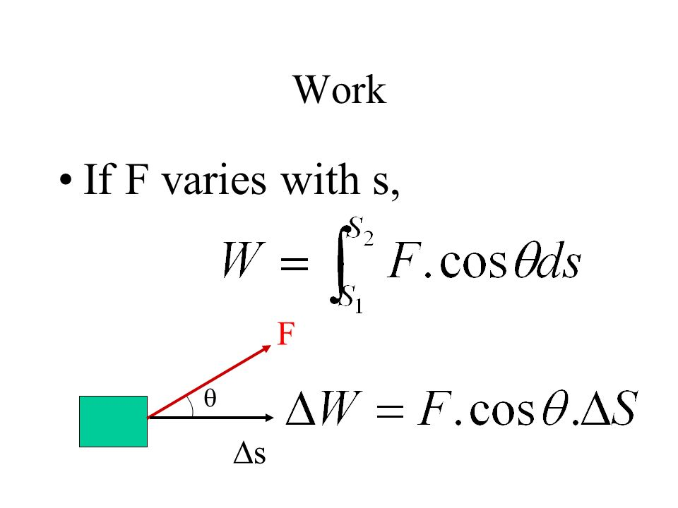 Work If F varies with s, F s