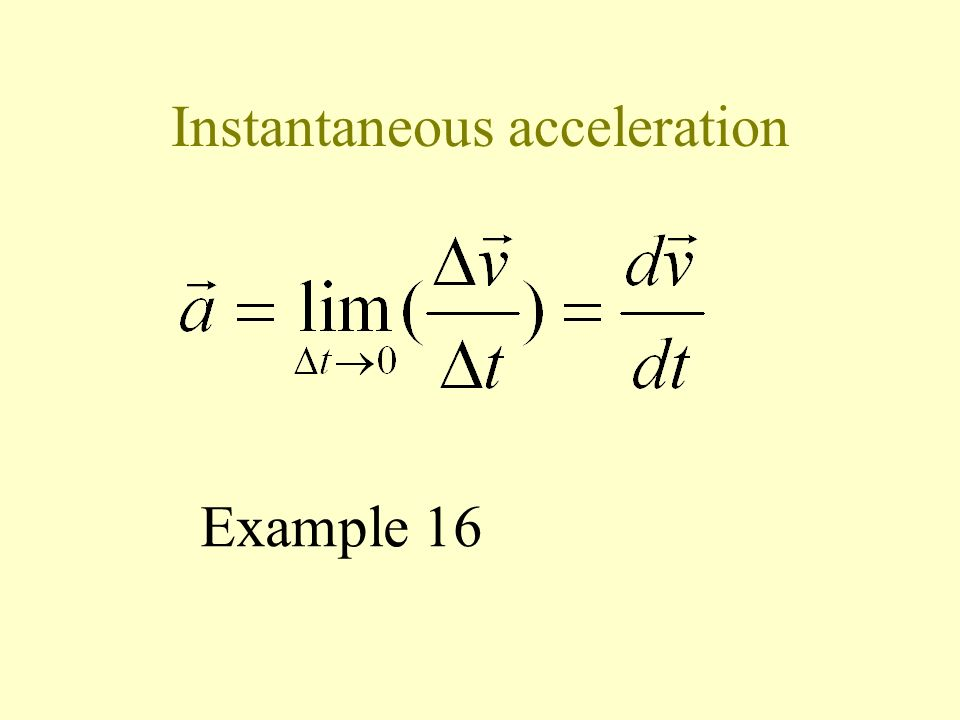 Average acceleration Average acceleration = change in velocity time Example 15