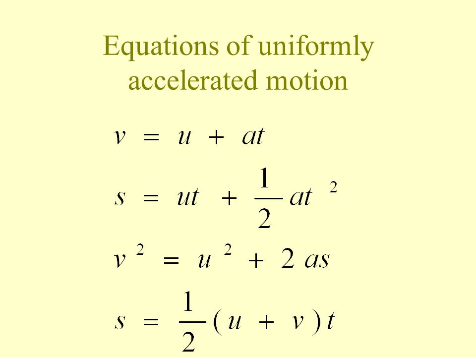 Uniformly accelerated motion time v u t0 velocity s = displacement = s = area below the graph