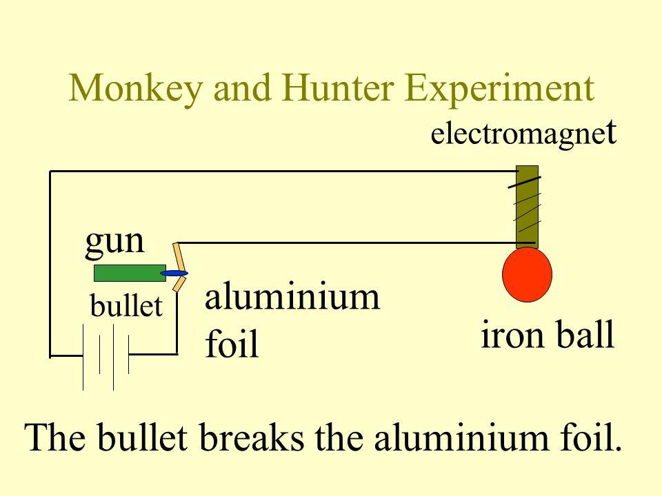 Monkey and Hunter Experiment gun bullet aluminium foil electromagne t iron ball