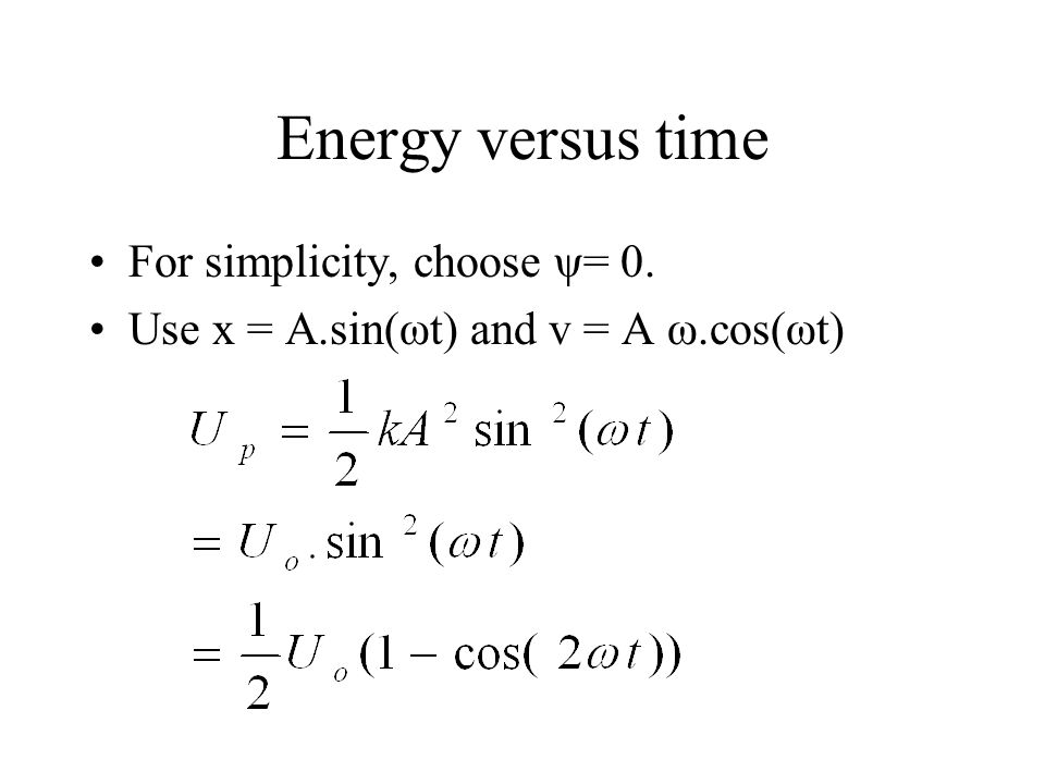 Energy versus time For simplicity, choose ψ= 0. Use x = A.sin(ωt) and v = A ω.cos(ωt)